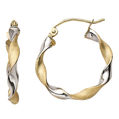 14K Two-Tone Twisted Hoop Earrings - SilverAndGold.com Silver And Gold