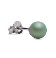 6 mm Brilliant Green South Seas Lustrous Cultured Pearl Earrings in Sterling Silver