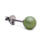 6 mm Brilliant Light Green South Seas Lustrous Cultured Pearl Earrings in Sterling Silver