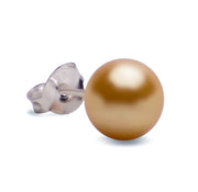 8 mm Brilliant Gold South Seas Lustrous Cultured Pearl Earrings in Sterling Silver