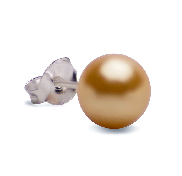 8 mm Brilliant Gold South Seas Lustrous Cultured Pearl Earrings