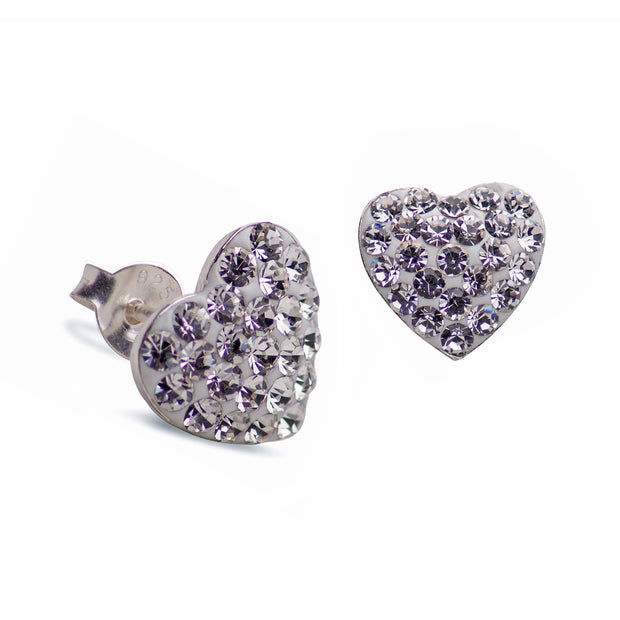 Clear Cubic Zirconia Crystal Heart Stud Post Earrings