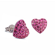 Pink Rose Cubic Zirconia Crystal Heart Stud Post Earrings