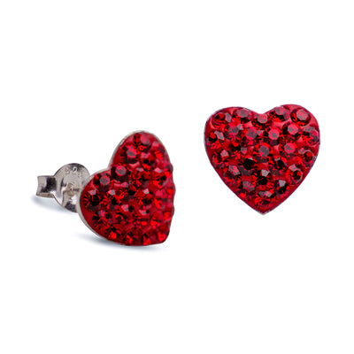 Ruby Red Cubic Zirconia Crystal Heart Stud Post Earrings
