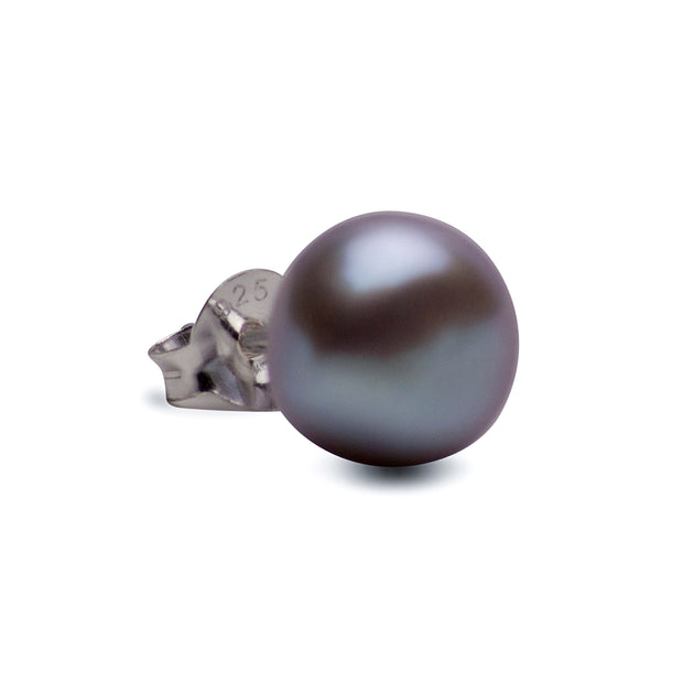 8 mm Grey South Seas Pearl Earrings | SilverAndGold