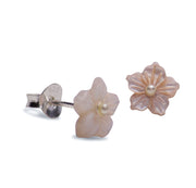 7.5mm Cut Mother of Pearl Shell Flower Stud Post Earrings with Clear