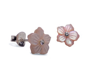 7.5 mm Cut Mother of Pearl Shell Flower Stud Post Earrings with Clear