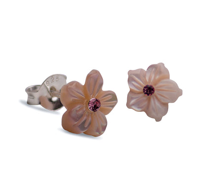 7.5 mm Cut Mother of Pearl Shell Flower Stud Post Earrings with a Pink