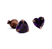 6 mm Cut Amethyst Cubic Zirconia Crystal Heart Stud Post Earrings