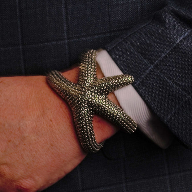 Wearable Art: Artistic Starfish Cuff Bracelet - in Sterling Silver