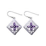 Amethyst Filigree Earrings in Sterling Silver | SilverAndGold