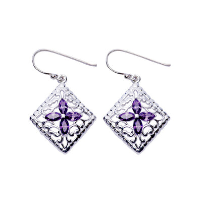 Sterling Silver Earrings: Amethyst & Silver Filigree Earrings - SilverAndGold.com Silver And Gold