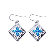 Topaz Flower Filigree Sterling Silver Earrings | SilverAndGold