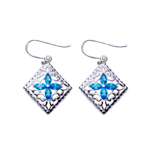 Sterling Silver Earrings: Topaz & Silver Filigree Earrings - SilverAndGold.com Silver And Gold