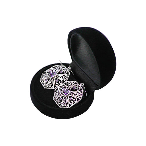 Amethyst & Sterling Silver Filigree Earrings - SilverAndGold.com Silver And Gold