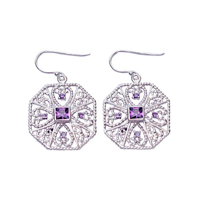 Amethyst & Sterling Silver Filigree Earrings | SilverAndGold