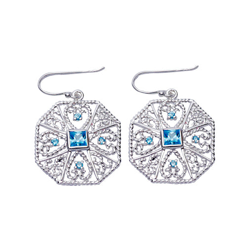 Sterling Silver & Topaz Filigree Earrings | SilverAndGold