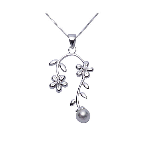 Sterling Silver & Pearl Necklace: Flowers - SilverAndGold.com Silver And Gold