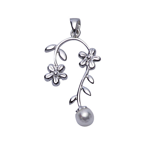 Sterling Silver & Pearl Pendant: Flowers - SilverAndGold.com Silver And Gold