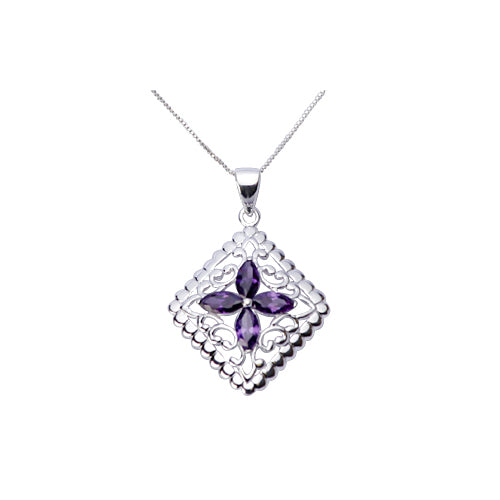 Sterling Silver Necklace: Amethyst & Silver Filigree Diamond - SilverAndGold.com Silver And Gold