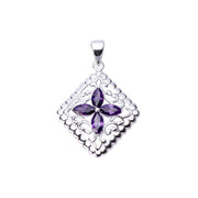 Sterling Silver Pendant: Amethyst & Silver Filigree Diamond - SilverAndGold.com Silver And Gold