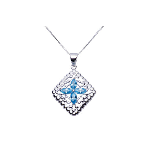Sterling Silver Necklace: Topaz & Silver Filigree Diamond - SilverAndGold.com Silver And Gold