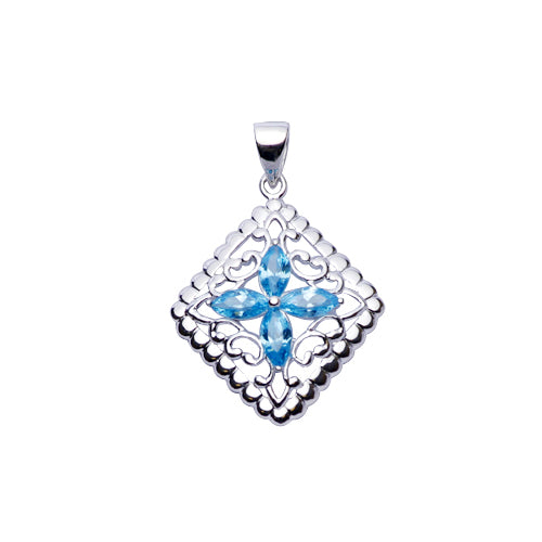 Sterling Silver Pendant: Topaz & Silver Filigree Diamond - SilverAndGold.com Silver And Gold