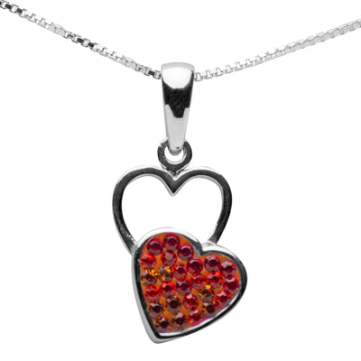 Ombré Red & Orange Crystal Heart Necklace