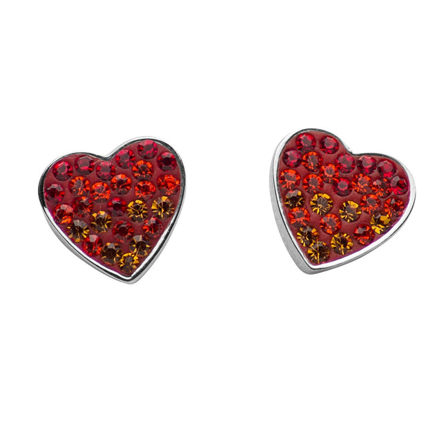Ombré Red & Orange Crystal Heart Earrings