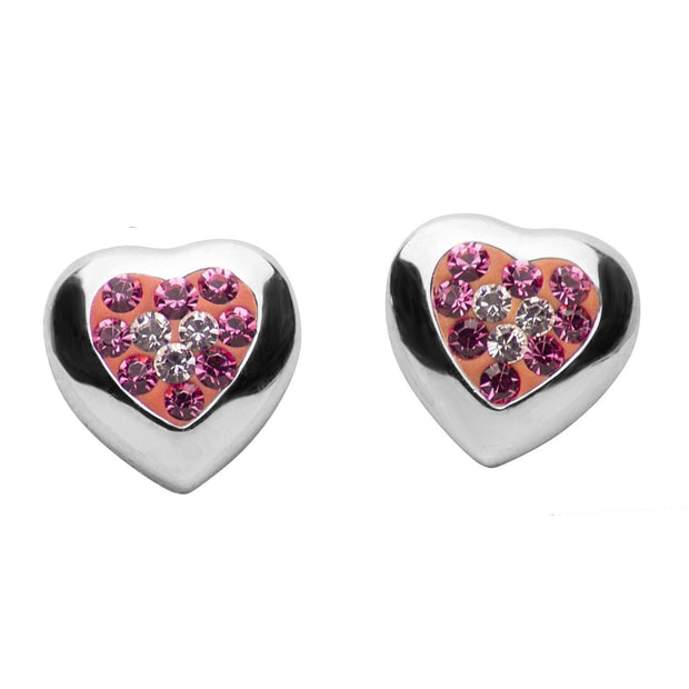 Pink & Clear Crystal Heart Sterling Silver Earrings | SilverAndGold