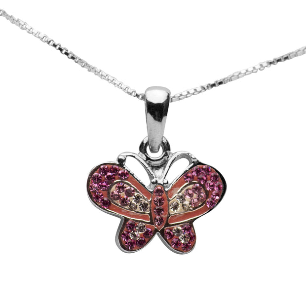 Sterling Silver and Swarovski Crystal Butterfly Pendant