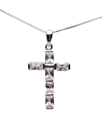 Sterling Silver & Cubic Zirconia Cross Pendant Necklace