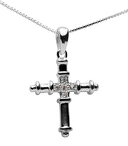 Ornate Sterling Silver & Cubic Zirconia Cross Pendant Necklace