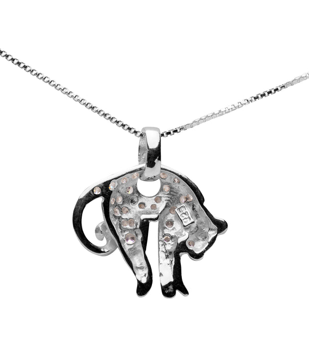 Sterling Silver & Crystal Delicate Cat Pendant