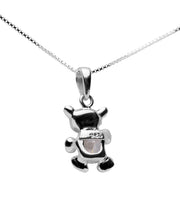 Crystal Teddy Bear Pendant in Sterling Silver