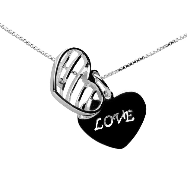 Sterling Silver Heart Love Message Caged Pendant Necklace