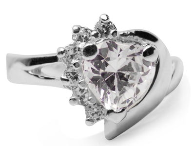 Radiant Diamond Simulant Heart Ring in Sterling Silver