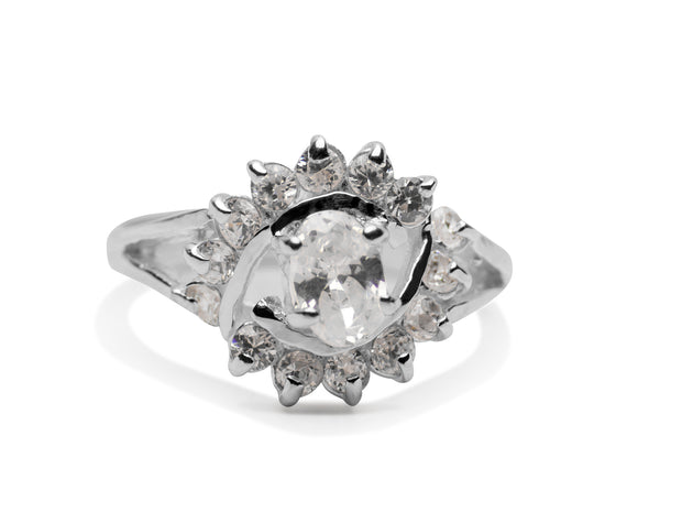 Distinctive Sterling Silver & Cubic Zirconia Ring