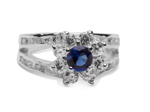 Lab Created Blue Sapphire & Crystal Starburst Design Sterling Silver Ring