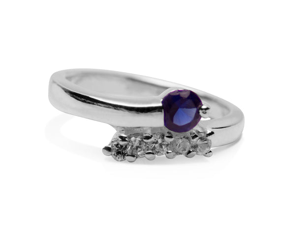 Deep Blue Created Sapphire Ring in Sterling Silver