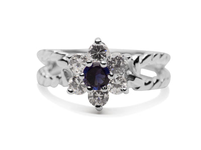Created Blue Sapphire & Crystal Sunburst Twisted Band Sterling Silver Ring