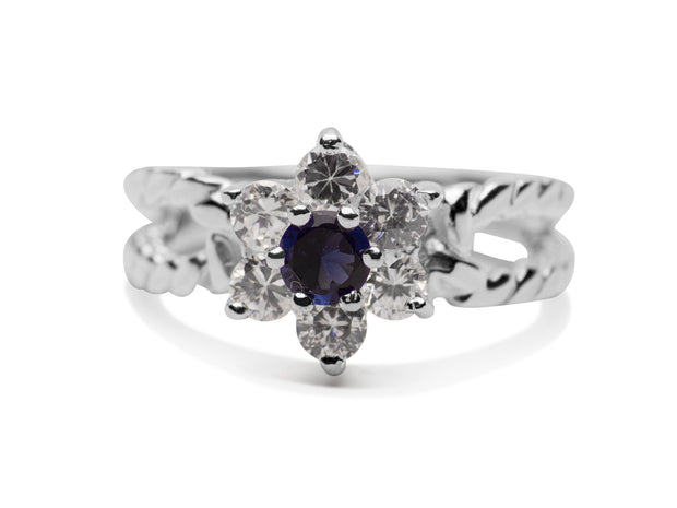 Created Blue Sapphire & Crystal Sterling Silver Ring | SilverAndGold
