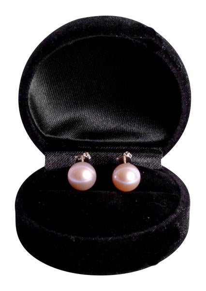 14K White Gold Glossy Freshwater South Seas Lavender 9 mm Pearl Earrings