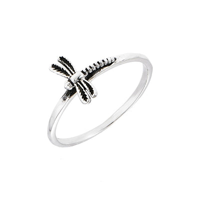 Sterling Silver Simple Band Dragonfly Ring