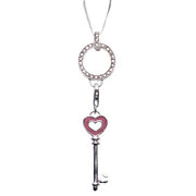 Pink Enamel Heart Key Sterling Silver Pendant Necklace