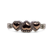 14K Rose Gold Plated Sterling Silver Beaded Two-Tone Three Heart Ring
