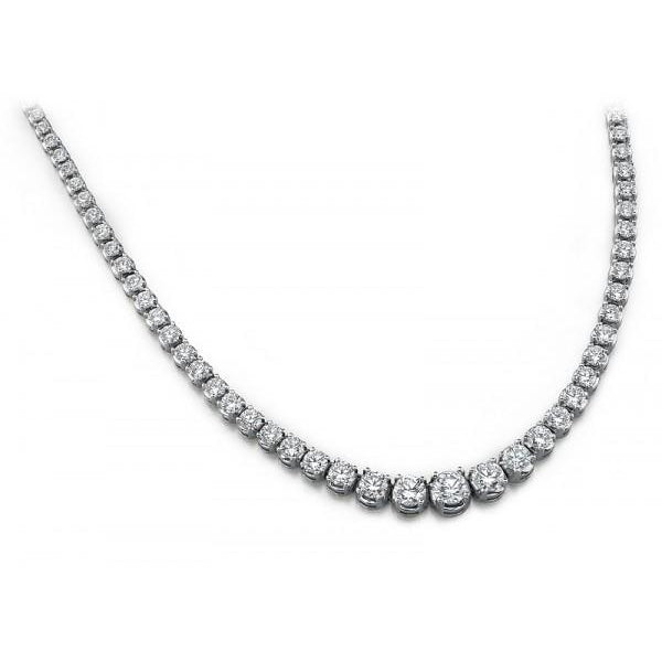 18K White Gold Graduated Diamond Necklace | SilverAndGold
