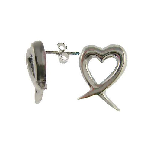 Sterling Silver Heart Post Earrings | SilverAndGold