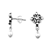 Dangling Pearl & Sterling Silver Earrings | SilverAndGold