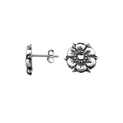 Sterling Silver Flower Stud Earrings | SilverAndGold